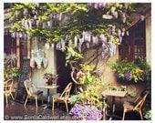 Wisteria Café Paris, sidewalk cafe, restaurant, springtime, outdoor, romantic, kitchen decor 8x10 or 11x14 Original Fine Art Photograph