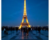 Eiffel Tower, night, lights, Paris blue home decor - 8x10 Original Signed Fine Art Photograph