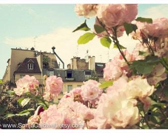 Paris floral photography - Rooftops and Roses - Paris rooftops, pink roses, retro home decor - 8x10 - Original Fine Art Photograph