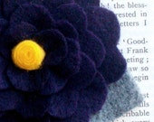 Deep Purple Felt Flower with Yellow center and Gray leaves, headband or clip