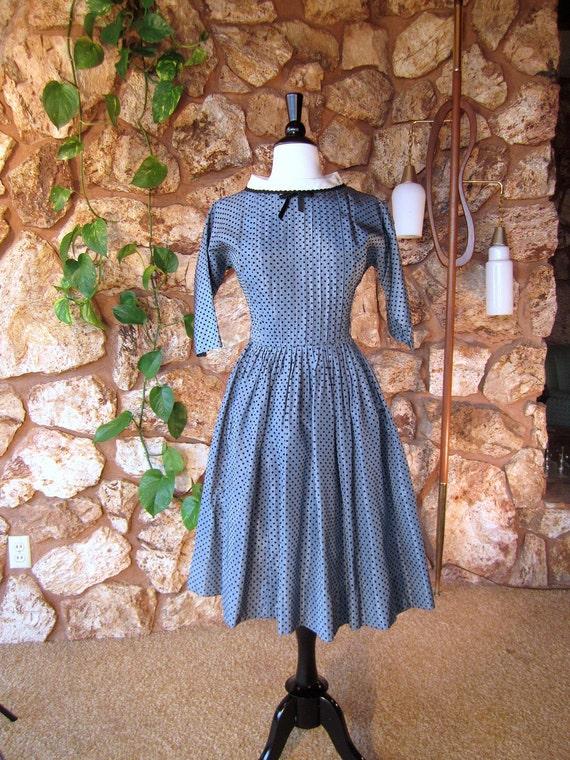 1950s Blue Flocked Taffeta Party Dress