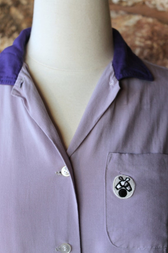 1950s Ladies League Bowling Shirt Large