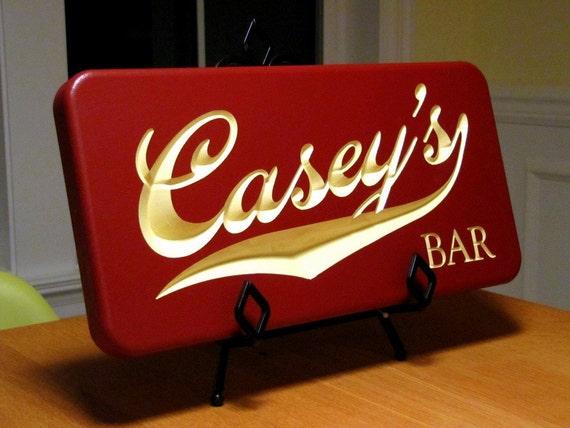 Personalized Carved Vintage Script Bar Sign