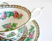 RESERVED FOR MICHELLE - Vintage teacup set - Coalport Indian Tree footed cup and saucer - Older semi scalloped, multicolor, England