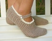Beige Slippers With Pearl Buttons