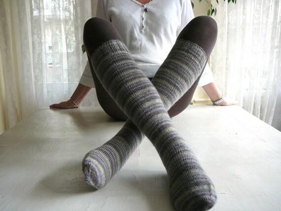 Gray Blended Brown Yellow Socks