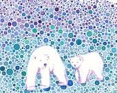 Polar Bear Mumma with Cub, 8 x 10 inch Print of an Original Watercolour