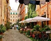 Rome Italy - Italian Photography - Trastevere Rome - Italian Decor -  Italy Restaurant - Cafe Art - Orange Green - Laundry Bicycle