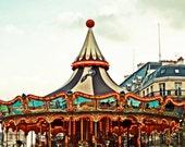 Paris Photography - Paris Carousel - Fine Art Print - Colorful Whimsical Art - Circus - Home Decor - Nursery Art - Childrens Art