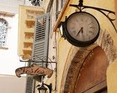 Greece Travel Photography - Clock Art - European Print - Butter Yellow Silver Blue Rustic Wall Decor Time Corfu Mediterranean Photo