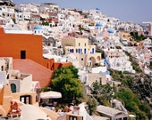 Pictures of Santorini -  Photography from Greece - Blue White Peach Coral Photo - Greek - Colorful Travel - Mediterranean Decor - Wall Art