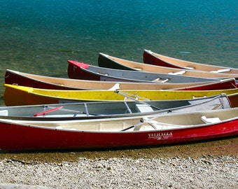 Canoe Photography - Lake House Decor - Boat Wall Art - Nautical Print - Turquoise Red Yellow - Banff Canada Photography Lake Louise