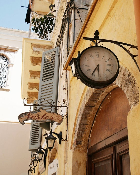 Greece Travel Photography - Clock Art - European Print - Butter Yellow Silver Blue Rustic Wall Decor Time Corfu Mediterranean Photo