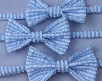 Blue and White Stripe Seersucker Bow tie - Infant, Toddler, Boys