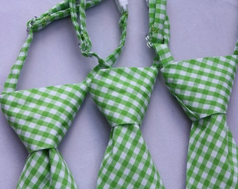 Lime Green Gingham Clip on Necktie - Infant, Toddler, Boys