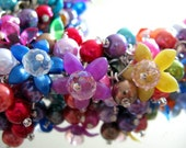 Rainbow Garden Cha Cha Bracelet - Colorful crystals, glass pearls & flowers - Flat Rate Shipping