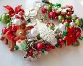 Christmas Fun Cha Cha Bracelet - Glass Pearls, Lampwork beads, Holiday theme charms gifts