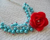 Forget Me Not Cha Cha Necklace - Turquoise / Teal / Aqua and Red - w/large red rose polymer clay - Glass pearls - Vintage Victorian design