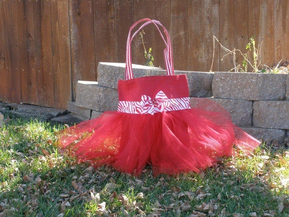 SALE - Large Red Zebra Candy Cane Striped Tutu Tote Bag, Ready to Personalize and Ship
