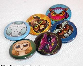 Feather Gang 6 Piece Owl Button Pinback Button Set
