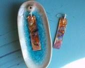copper leaf embossed earrings