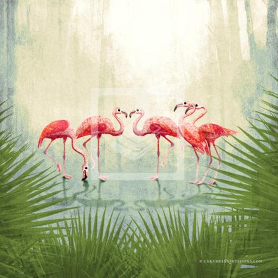 Items Similar To Jungle Safari Pink Flamingo Animal 10x10 Giclee Canvas Wall Art Decor Room