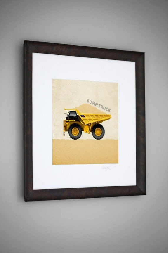 Items similar to construction vehicle yellow dump truck for 8x8 living room ideas