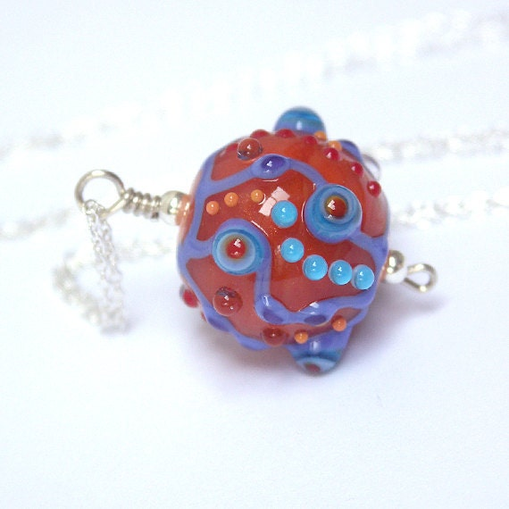 Lampwork Bead Pendant on a Delicate Silver Chain