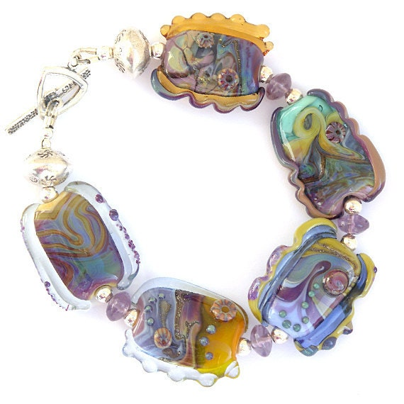 Lost and Found Bracelet 3 - Handmade Lampwork, Sterling Silver and Amethyst