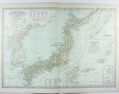 1900 Japan and Korea - Antique World Map