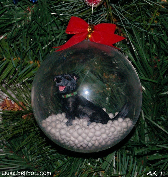 Custom hand sculpted waterless snowglobe ornament of your pet or original character