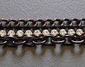 Austrian Crystal Rhinestone and Black Metal Bracelet