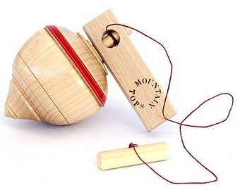 Wood Toy Top  Traditional Wood Toy  Red Top