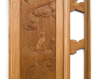 Custom Carved Door and Sidelight - Oriental Cats and Oak Tree in Mahogany
