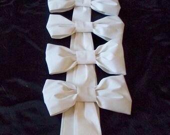 Fabric Pew Bows,  Wedding Decorations,  Set of 6, Ceremony Church Aisle Decorations, White, Ivory, Black, and Navy Pew Bows, Fabric Pew Bows