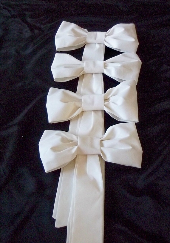 Pew Bows in White or Ivory, Wedding Bows, Aisle Bows, Set of 4, Church Pew Decorations, Pink, Lime, Black, Navy, Blue, Teal