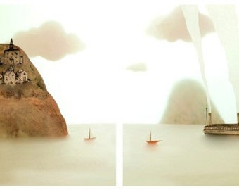 From shore to shore 16x20 Diptych