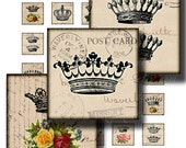 crowns 1 x 1 inch square images Printable Download Digital Collage Sheet diy jewelry pendant sticker magnet inchies