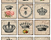crowns Vintage Printable Tags Digital Collage Sheet large square 2.5 inch images ephemera background card making Download and Print