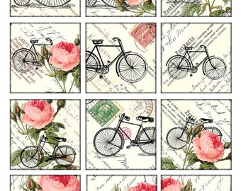 bikes and roses Vintage Printable Tags Digital Collage Sheet large square images 2.5 inch background card making Download and Print