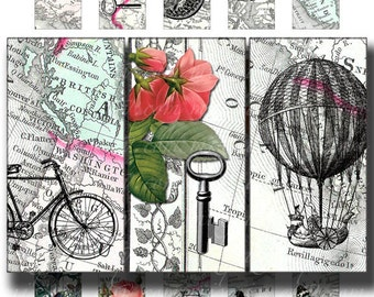 vintage travel 1 x 2 inch domino tile pendant images Printable Download Digital Collage Sheet map key bike rose diy altered art jewelry