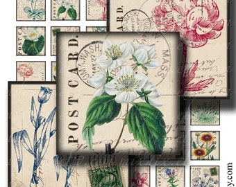 1 x 1 inch square images Printable Download Digital Collage Sheet diy jewelry pendant sticker herbarium postcard vintage tiles shabby chic