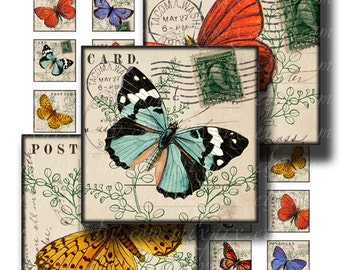 butterfly 1 x 1 inch square images Printable Download Digital Collage Sheet flight postcard diy jewelry pendant sticker paper craft