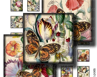 victorian flowers 1 x 1 inch square images Printable Download Digital Collage Sheet print diy jewelry pendant sticker scrapbooking