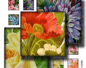 1 x 1 inch square images Printable Download Digital Collage Sheet diy jewelry pendant sticker vintage flowers rose poppy violet