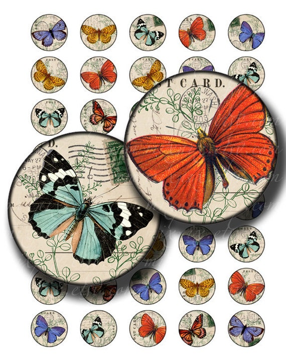 butterfly 1 inch round images Printable Download Digital Collage Sheet 1 inch circle post card diy jewelry pendant bottle cap images