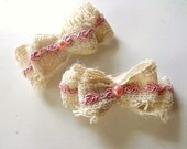 Burlap and Lace Hair Clips Farmhouse Rustic Inspired Medium Bows