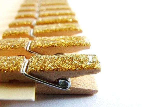 Glitter Glazed Mini Clothespins in Florentine Gold 10 Pieces Made To Order