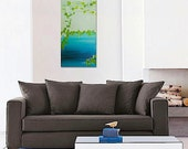 MERMAiD original abstract modern painting - gallery fine art - contemporary interior design - ooak home wall decor - teal celadon