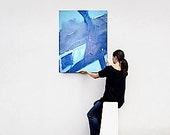 STORM at SEA original abstract modern painting - gallery fine art - contemporary interior design - ooak home wall decor - blue